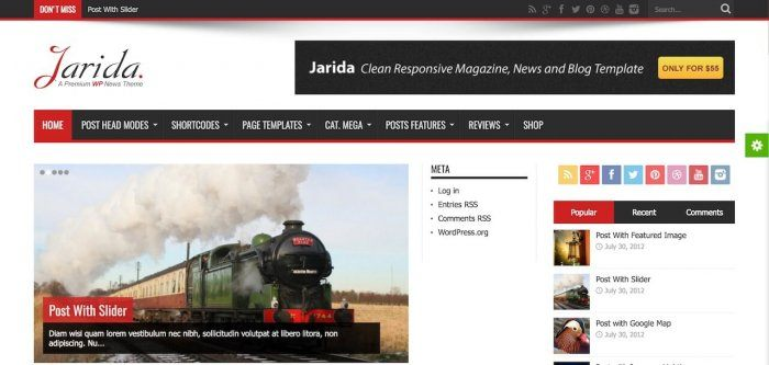 An online publication designed using the Jarida plugin. The page shows the publication's categories, thumbnails of articles, and a list of the most popular article.