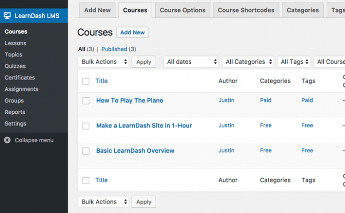 The LearnDash LMS dashboard showing a list of the courses with the names of their authors, their categories, and tags.