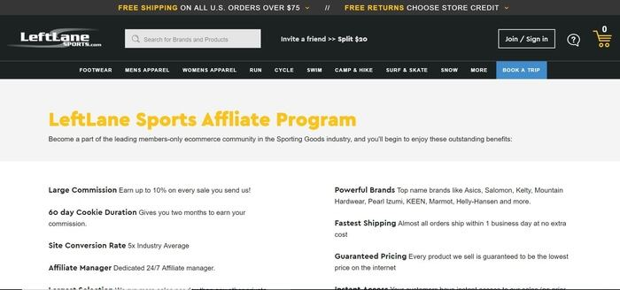 screenshot of the affiliate sign up page for LeftLane Sports