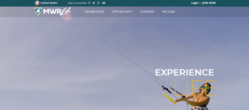 MWR Life website screenshot showing a young woman kite surfing against a cloudy sky.
