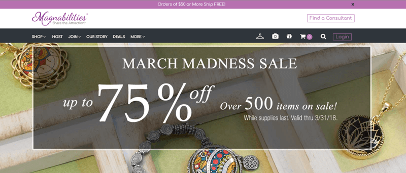 Magnabilities website screenshot showing a few pieces of jewelry and information about the March Madness Sale.