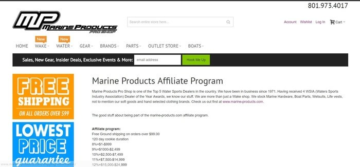 screenshot of the affiliate sign up page for Marine Products Pro Shop