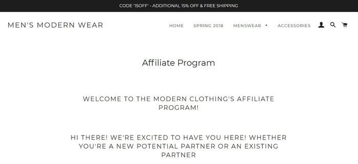 screenshot of the affiliate sign up page for Mens Modern Wear