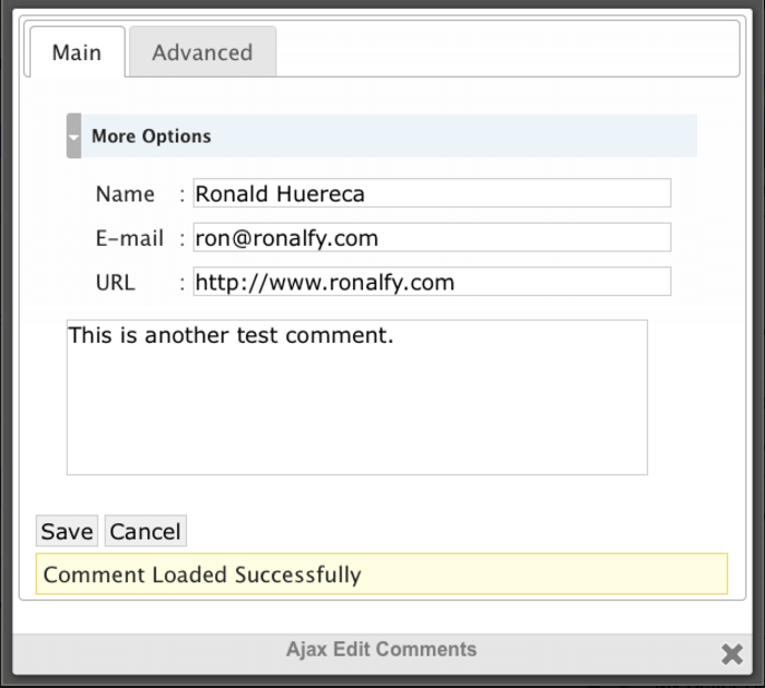 The comment tab that appears to your websites users when you install the Mihdan plugin, giving them space to write their name, e-mail address, website URL, along with the comment itself.