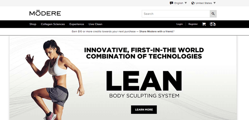 Modere website screenshot showing an exercising woman and details about the company's Lean Body Sculpting System.