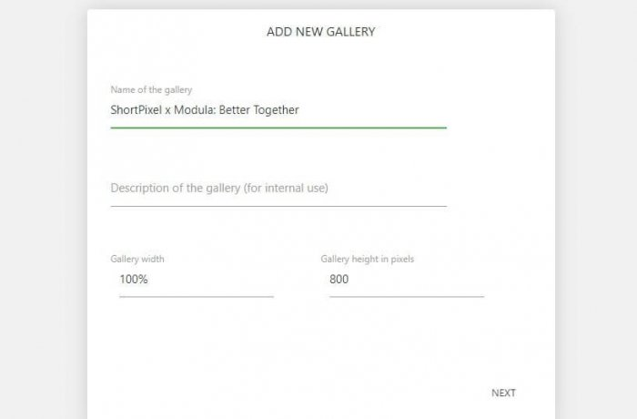 "An ""Add New Gallery"" window with fields for the name of the gallery, description, and dimensions."