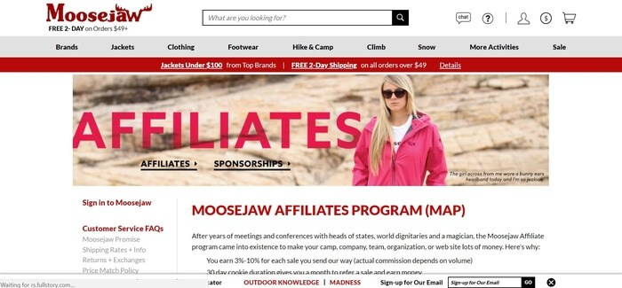 screenshot of the affiliate sign up page for Moosejaw