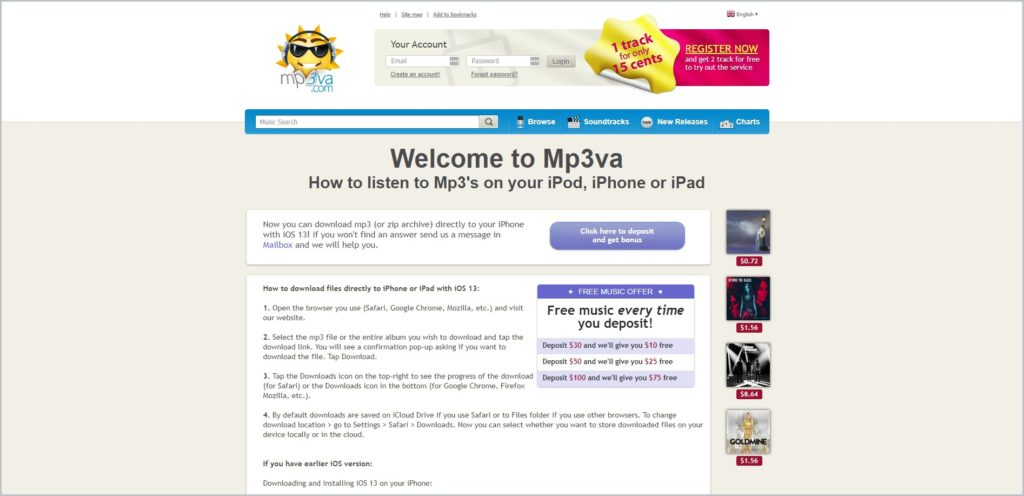 screenshot of Mp3va.com web page