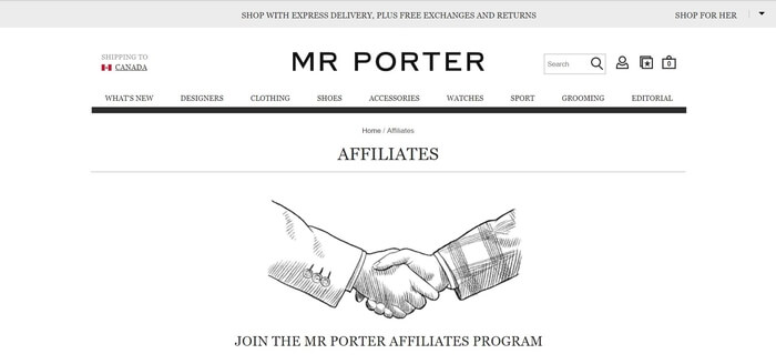 screenshot of the affiliate sign up page for Mr Porter