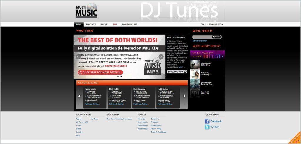 screenshot of Multi Music web page