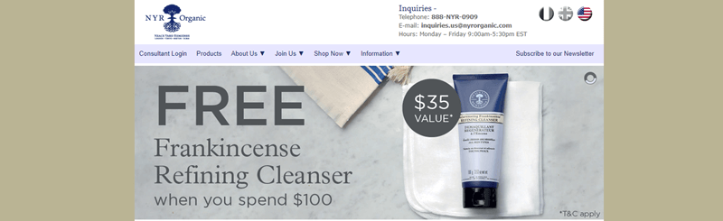 NYR Organic website screenshot showing an image of the company's Frankincense Refining Cleanser.