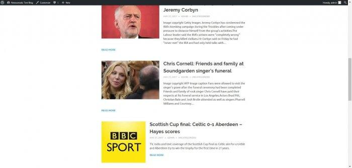 A news feed showing items from a number of different news outlets.
