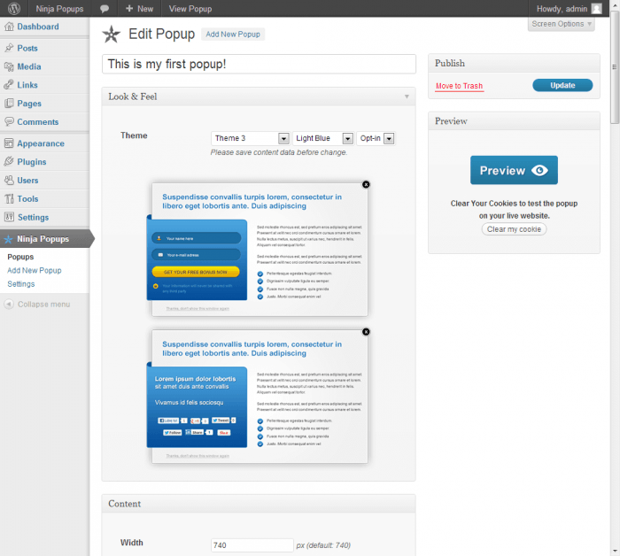 The pop-up visual editor provided by Ninja PopUps open inside a WordPress dashboard.