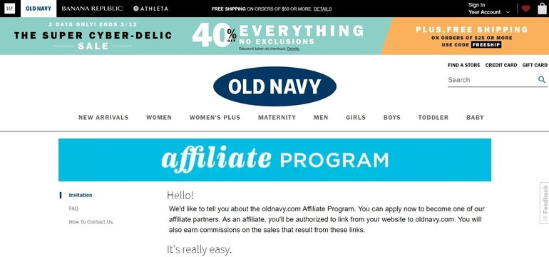 screenshot of the affiliate sign up page for Old Navy