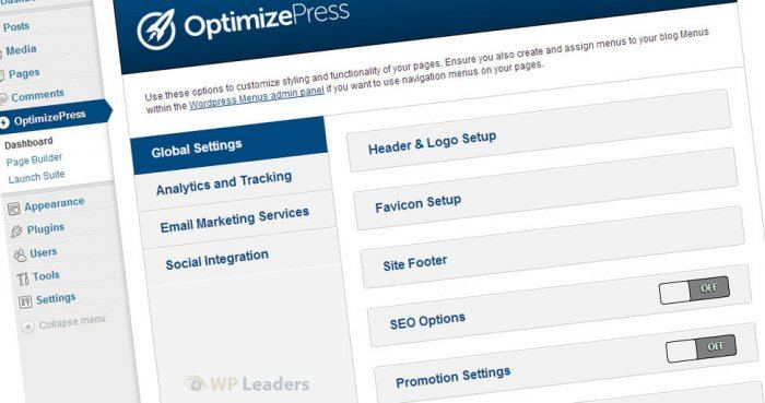 The OptimizePress dashboard showing the global settings (that apply to each of your pages regardless of its separate design), analytics and tracking, e-mail marketing services, and social integration features.