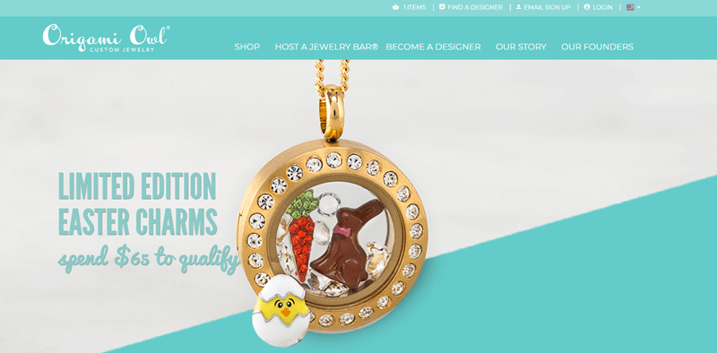 Origami Owl website screenshot showing one of the Living Lockets with various Easter charms.