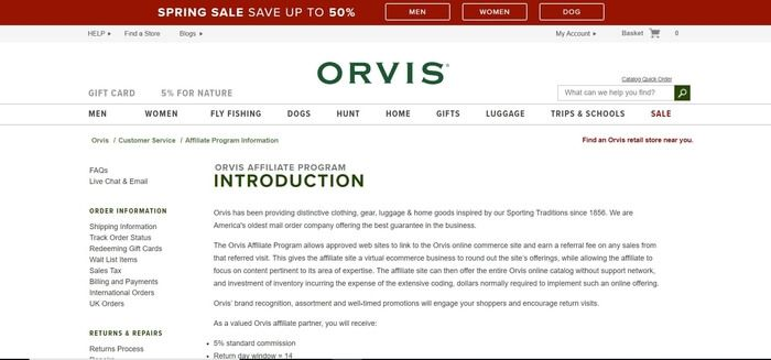 screenshot of the affiliate sign up page for Orvis