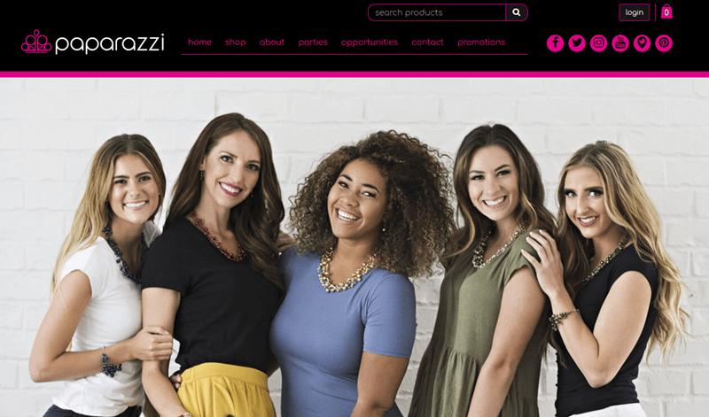 Paparazzi website screenshot showing five women facing the camera and wearing jewelry.
