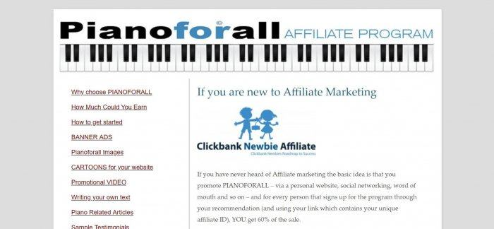 screenshot of the affiliate sign up page for Pianoforall