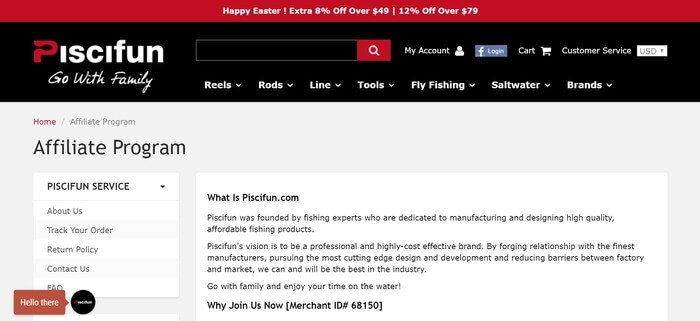 screenshot of the affiliate sign up page for Piscifun