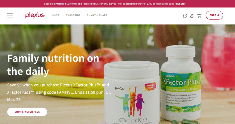 Plexus website screenshot highlighting their family nutrition concept, along with the XFactor Plus and XFactor Kids products.