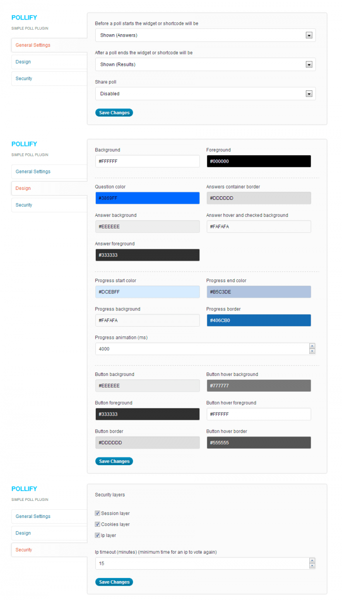 """The """"General Settings"""" tab showing the security layers, color options for each element in the survey, and the display settings."""
