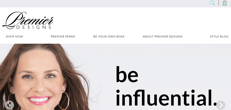 Premier Designs website screenshot showing a smiling brown haired woman with the words 'be influential' next to her.