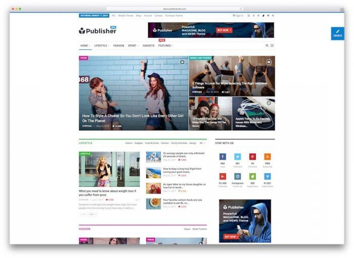 An online magazine with a layout similar to that of most major digital publications. Each item is labelled by its category, and there are social sharing buttons on the side and the sections listed at the top.