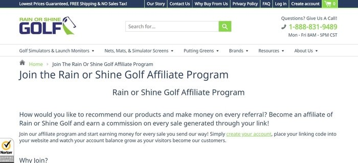 screenshot of the affiliate sign up page for Rain or Shine Golf