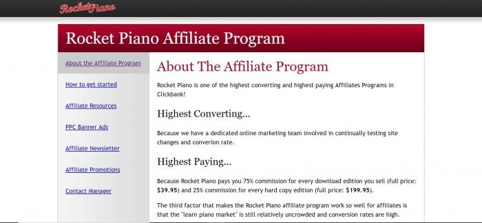 screenshot of the affiliate sign up page for Rocket Piano