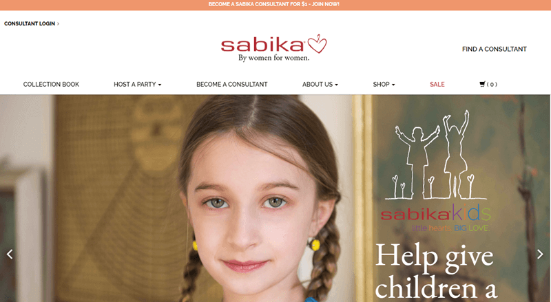 Sabika website screenshot showing a young girl in pigtails looking at the camera and smiling.