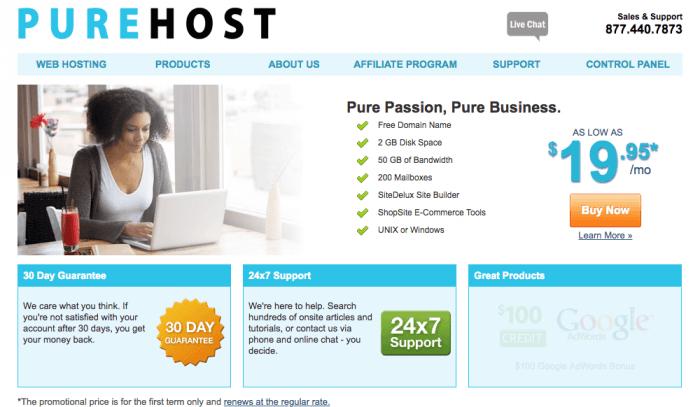 Purehost homepage screenshot