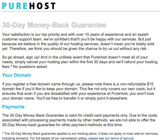 Money back Guarantee Purehost