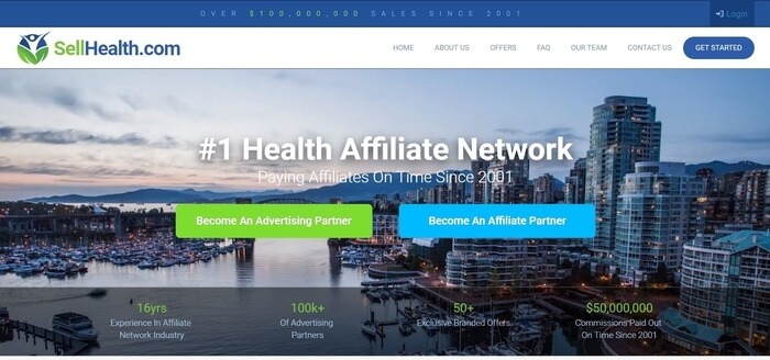 screenshot of the affiliate sign up page for Sell Health