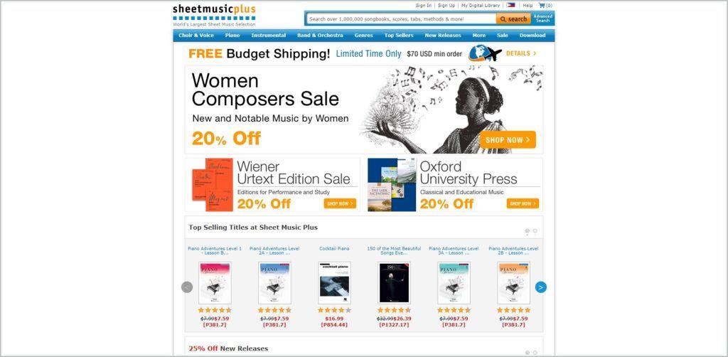 screenshot of Sheet Music Plus web page
