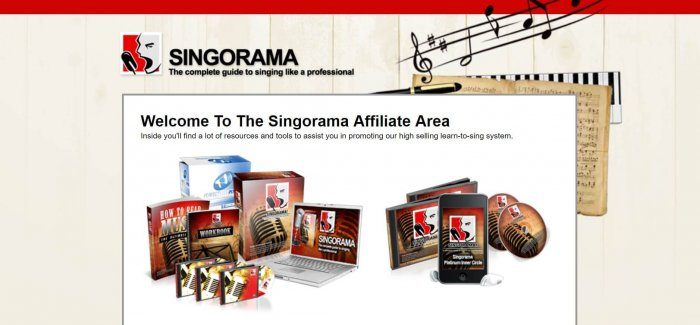 screenshot of the affiliate sign up page for Singorama