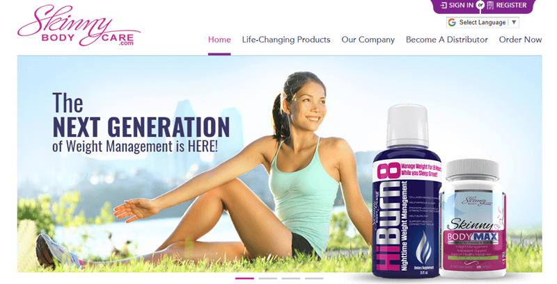 Skinny Body Care website screenshot showing a young woman sitting outside with two products from the company on the grass.