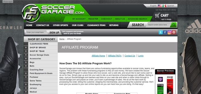 screenshot of the affiliate sign up page for Soccer Garage