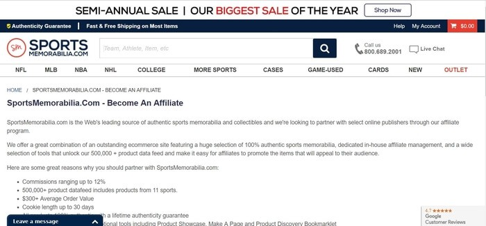 screenshot of the affiliate sign up page for SportsMemorabilia.com