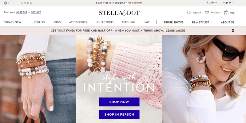 Stella & Dot website screenshot showing three different views of a set of bracelets.