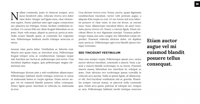 The plain, distraction-free layout generated by Storyform. The text is divided into two columns with some simple styling, subtitles, and a blockquote on the right.