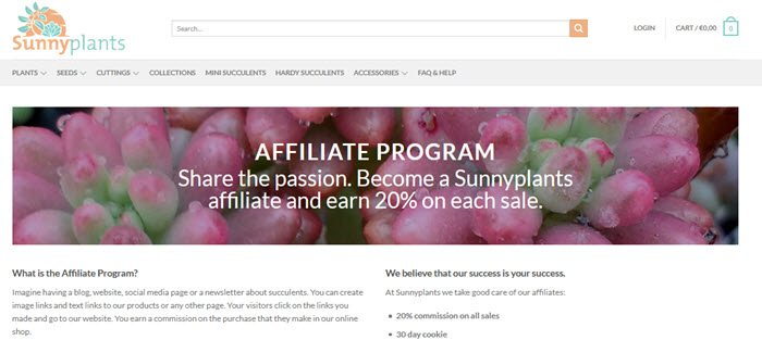 Sunnyplants website screenshot showing a closeup image of succlulents with details of the affiliate program