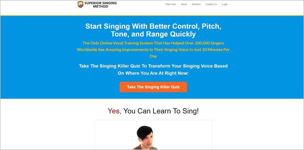 screenshot of Superior Singing Method web page