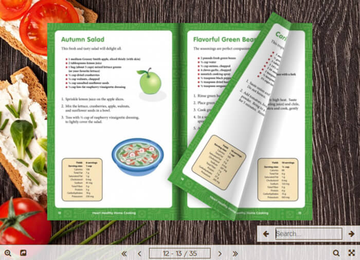 A flipbook produced via the Supsystic plugin displayed on a PDF reader. The pages of the magazine are all fit into the same theme.