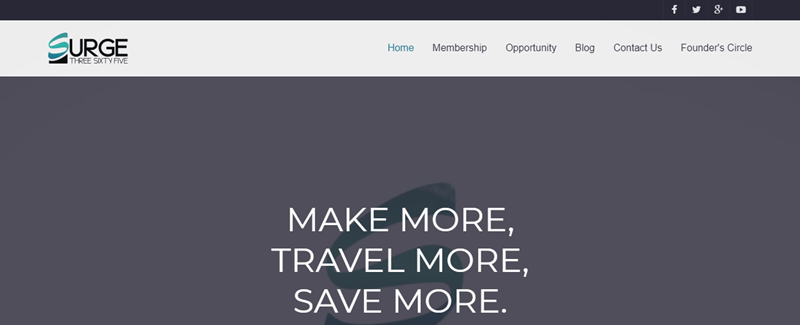 Surge 365 website screenshot, featuring a gray background and the words 'make more, travel more, save more'.