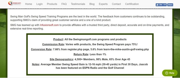 screenshot of the affiliate sign up page for Swing Man Golf