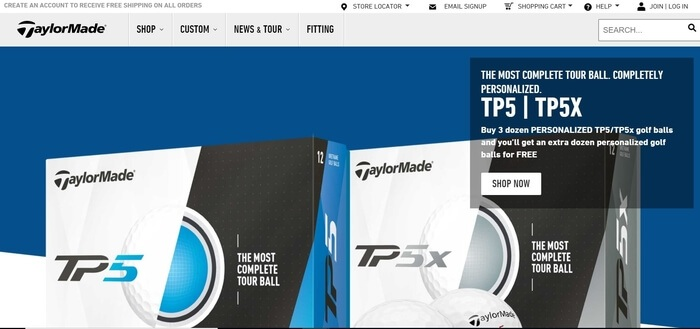 screenshot of the affiliate sign up page for TaylorMade