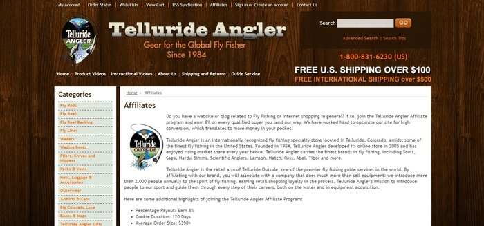 screenshot of the affiliate sign up page for Telluride Angler