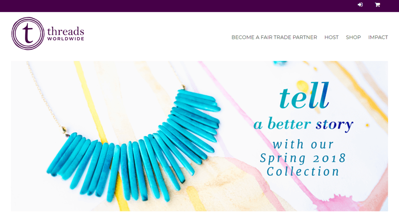 Threads Worldwide screenshot featuring a blue necklace and the phrase 'tell a better story'.