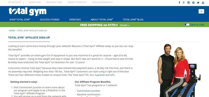 screenshot of the affiliate sign up page for Total Gym